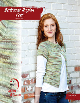 Buttoned Raglan Vest in Misti Alpaca Best of Nature Worsted - 3020 - Downloadable PDF