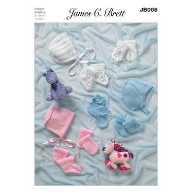 Helmet, Bonnet, Bootees and Mittens in James C. Brett Baby DK - JB008