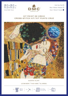 DMC Gustav Klimt - The Kiss (includes Étoile) Cross Stitch Kit - 30cm x 20cm - BK1811