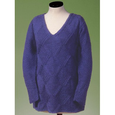Moss and Diamond V-Neck Pullover 128