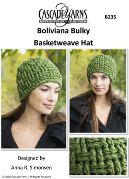 Basketweave Hat in Cascade Boliviana Bulky - B235 - Downloadable PDF