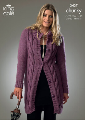 Cardigan and Sweater in King Cole Big Value Chunky - 3437