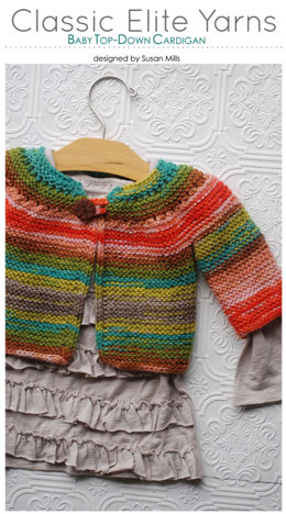 Baby Top-Down Cardigan in Classic Elite Yarns Liberty Wool Solids - Downloadable PDF