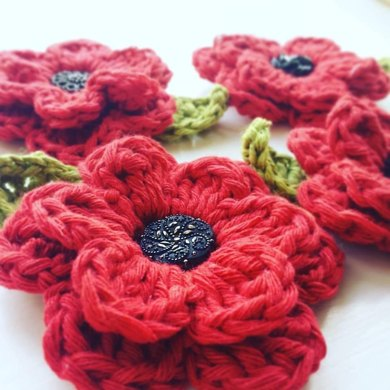 Remembrance Poppy Brooch Crochet Pattern By Bennyrens
