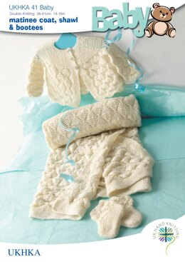 Baby Coat, Shawl and Bootees in King Cole Baby DK - UKHKA41pdf - Downloadable PDF