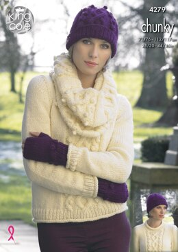 Sweater, Cowl, Hat, Scarf & Fingerless Gloves in King Cole New Magnum Chunky - 4279 - Downloadable PDF