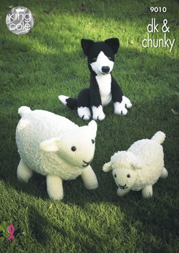 Sheep, Lamb and Sheepdog Toys in King Cole Chunky & DK - 9010