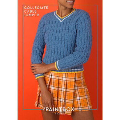 Collegiate Cable Sweater in Paintbox Yarns Baby DK - Downloadable PDF