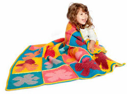 Pop Art Flowers Crochet Blanket in Bernat Super Value & Pop! - Downloadable PDF