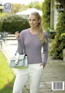 Cardigan & Sweater with Keyhole Sleeves in King Cole Luxury Merino DK - 4934 - Leaflet