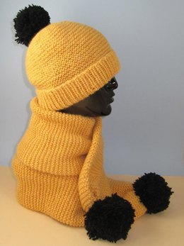 Easy Chunky Big Bobble Beanie Hat and Scarf Set