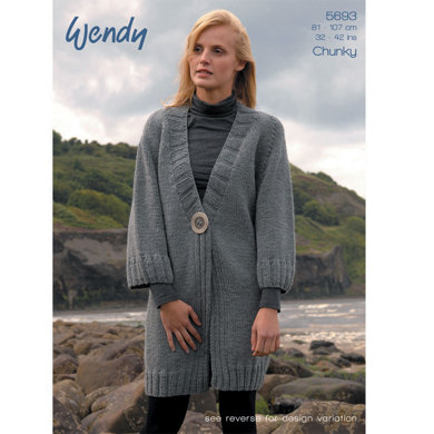 Defined Rib Cardigans in Wendy Mode Chunky - 5693
