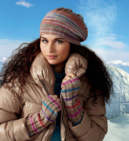 Hat & Wrist Warmers in Regia Iglu Color 8-ply - Downloadable PDF