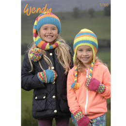 Hatscarf, Fingerless Mitts and Crochet Ear Flap Hat in Wendy Mode DK - 5760
