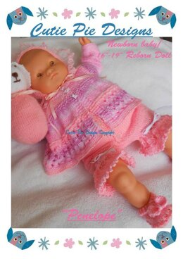 "Penelope Puppy Newborn 16-19"" Reborn Matinee Jacket Shorts Har Shoes Set Knitting Pattern"