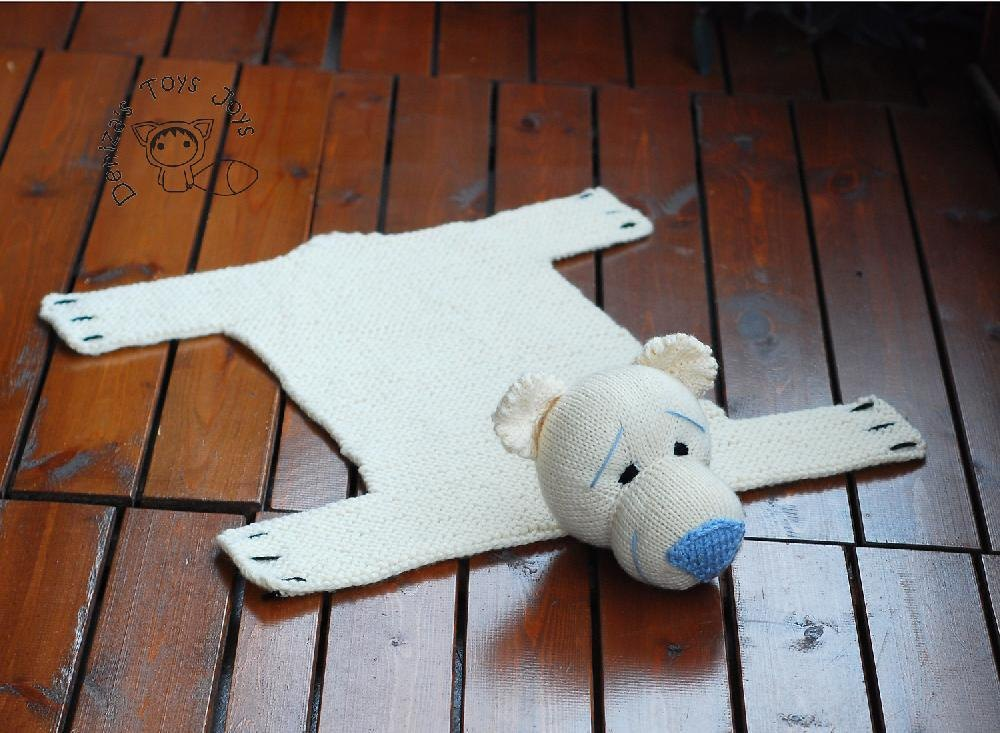 Polar Bear Rug Knitting Pattern : Baby blanket polar bear rug mat knitting pattern by