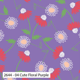 Craft Cotton Company Cute Florals - Cute Floral Purple