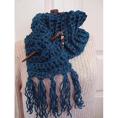 CHUNKY CROCHET TEAL SCARF with fringe
