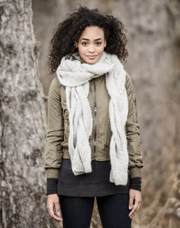 Callaway Cable Scarf in Blue Sky Fibers Brushed Suri - 20178 - Downloadable PDF