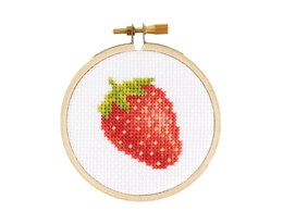 The Stranded Stitch Strawberry Cross Stitch Kit - 3 inches