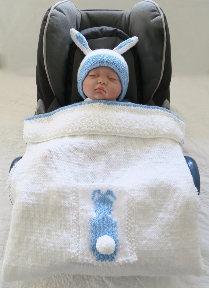 Baby Bunting Bunny Car Seat Blanket Hat Knitting Pattern By
