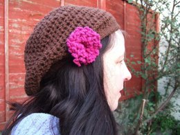 Beanie slouch beret hat pattern with flower