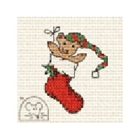 Mouseloft Christmas Card Stitchlet - Teddy in Stocking Cross Stitch Kit