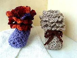 533, Ruffled Cuffs baby booties or adult slippers