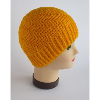 Unisex spiral-cabled hat. Three sizes.