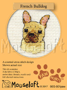 Mouseloft Paw Prints French Bulldog Cross Stitch Kit