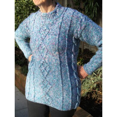 Sweater with Lattice Cable Panels