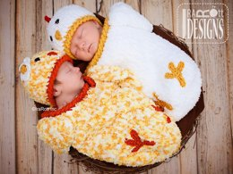 Bok Bok Easter Chicken Baby Hat and Cocoon Set Crochet PDF Pattern