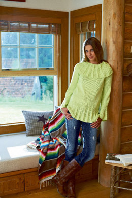 Ladies' Sweater with Pleated Flounce and Collar in Schachenmayr Universa - S6900 - Downloadable PDF