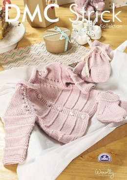 Baby Girl's Cardigan, Socks And Mittens in DMC Woolly - 15196L/2