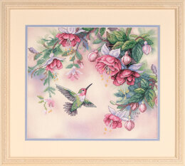 Dimensions Hummingbird and Fuschias Stamped Cross Stitch Kit