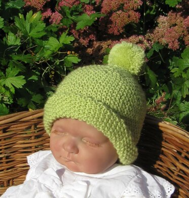 Baby Roll Brim Moss Stitch (Seed Stitch) Bobble Beanie Hat Knitting ... 2537234be44