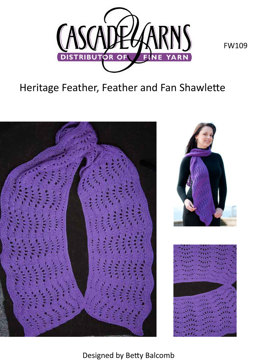 Feather, Feather and Fan Shawlette in Cascade Heritage - FW109
