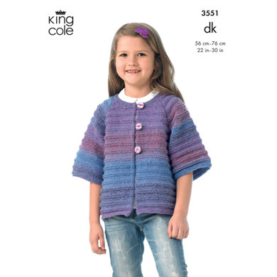 Girl's Jacket and Waistcoat in King Cole DK - 3551