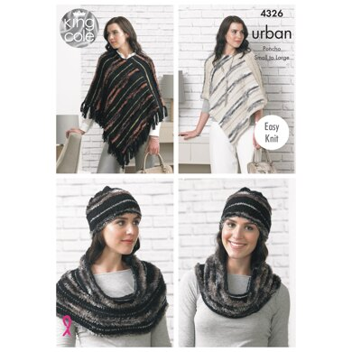 Poncho's, Hat & Snood in King Cole Urban - 4326 - Downloadable PDF