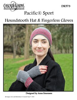Houndstooth Hat & Fingerless Gloves in Cascade Yarns Pacific Sport - DK573 - Downloadable PDF