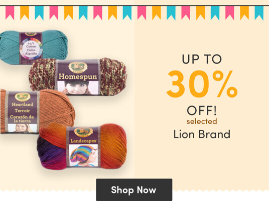 Up to 30 percent off selected Lion Brand