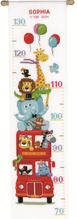 Vervaco Safari Bus Height Chart Cross Stitch Kit - 18cm x 70cm