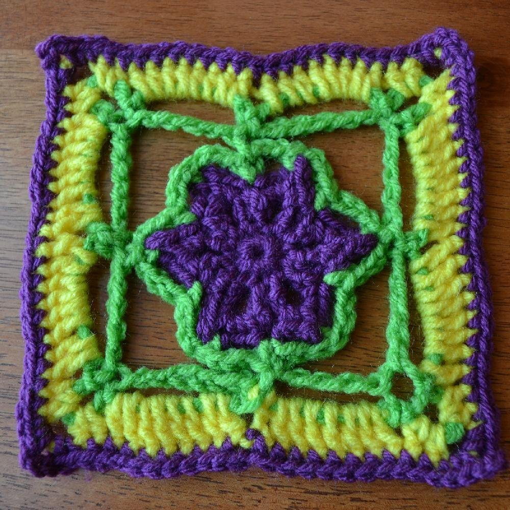 Stained Glass Flower 6 Inch And 8 Inch Square Crochet Pattern By