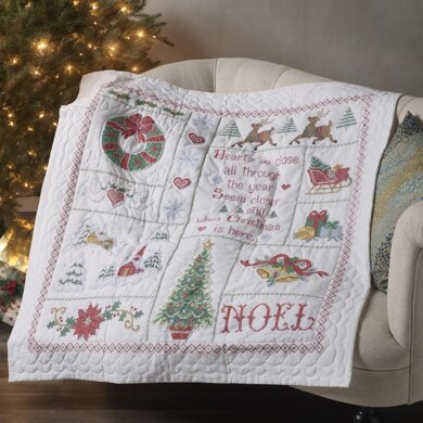 Bucilla Stamped Cross Stitch Lap Quilt 45in x 45in - Christmas Sampler