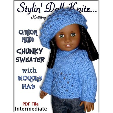Doll Sweater and Slouchy Hat. Fits American Girl, 18 inch. Gotz, PDF, AG, 043