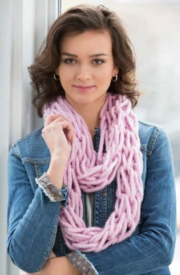 Arm-Knit Cozy Cowl in Red Heart Grande - LW4233