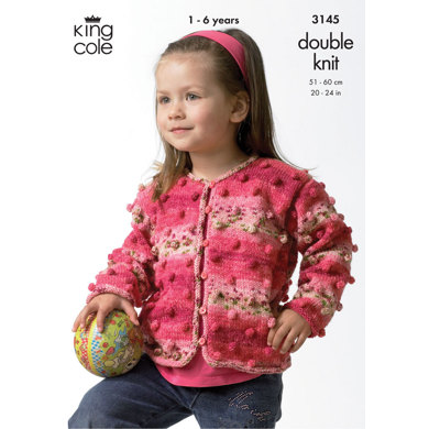 Girl's Cardigan & Boy's Sweater in King Cole Splash DK - 3145