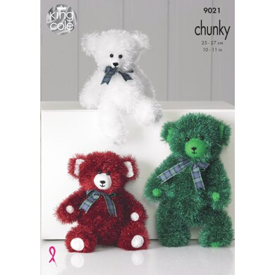 Tinsel Chunky Teddies in King Cole Tinsel Chunky - 9021 - Downloadable PDF