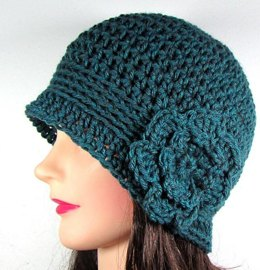 Cloche Beanie Hat with Flower
