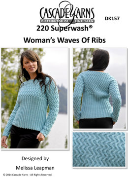 Woman's Waves of Ribs in Cascade 220 Superwash - DK157